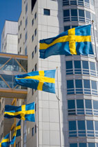 Swedish flags flying in Stockholm, Sweden